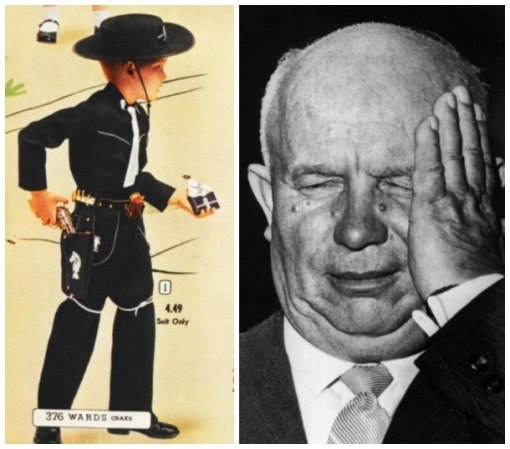 Vintage ad cowboy costume and Khruschev