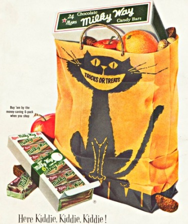 Vintage Halloween Ad MIlky Bars Trick or Treat bag