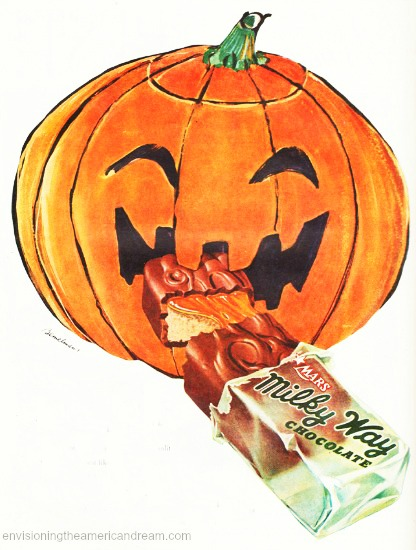 Halloween illustration pumpkin eating Milky Way bar