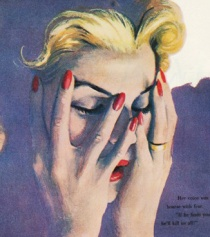 vintage illustration woman upset