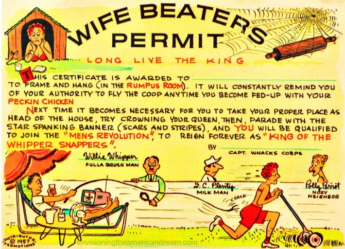 Vintage sexist gag Wife Beaters Permit 1957