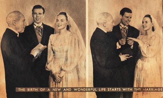 vintage photo wedding groom and bride