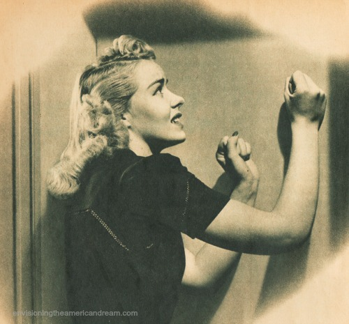 vintage pulp photo illustration woman banging on walls
