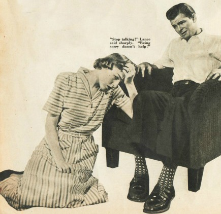 vintage photo illustration worried woman kneeling man in chair