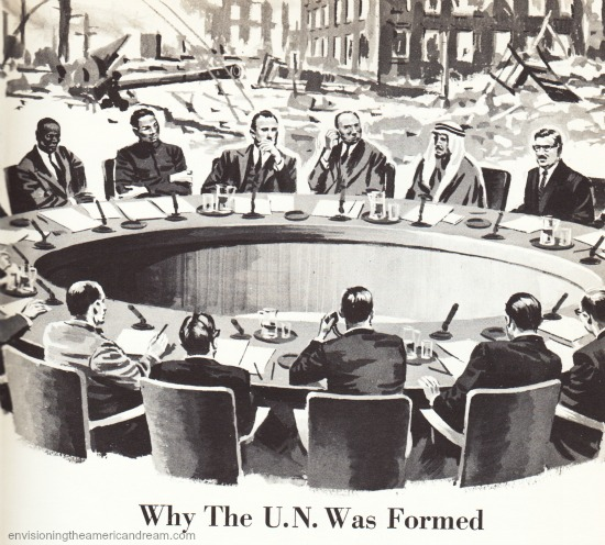 vintage childrensbook illustration UN Meeting