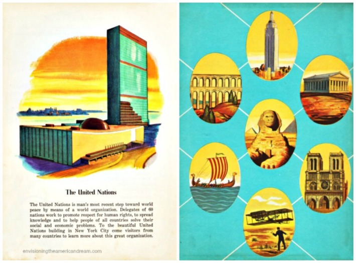 vintage illustration UN Mans great Achievements