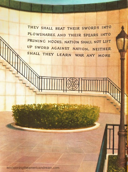 UN Peace They Shall Beat Their Swords vintage childrens book illustrations