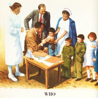 Vintage childrens schoolbook illustration 1962 UN doctors treating children