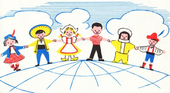 vintage illustration children UN World peace