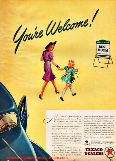 vintage ad Texaco mother and daughter walking to rest room gas station