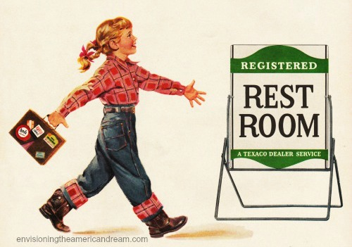 vintage illustration little girl headed to restroom gas station