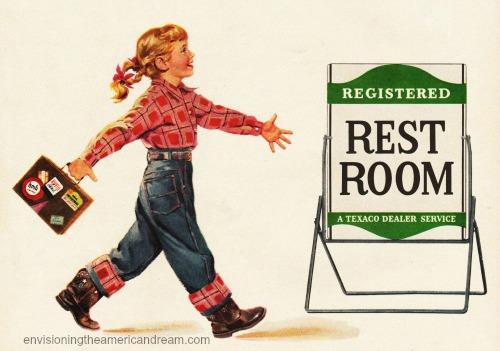 vintage illustration little girl headed to restroom gas station