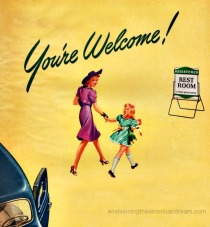 vintage illustration mother daughter walking in gas station rest room