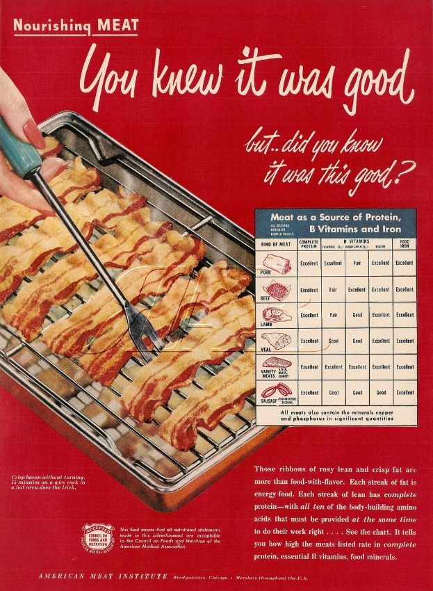 Vintage ad for bacon American Meat Institute