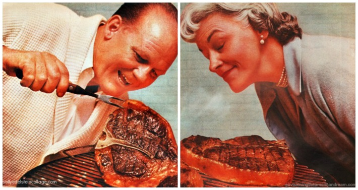 vintage photo man and woman at barbeque with steak
