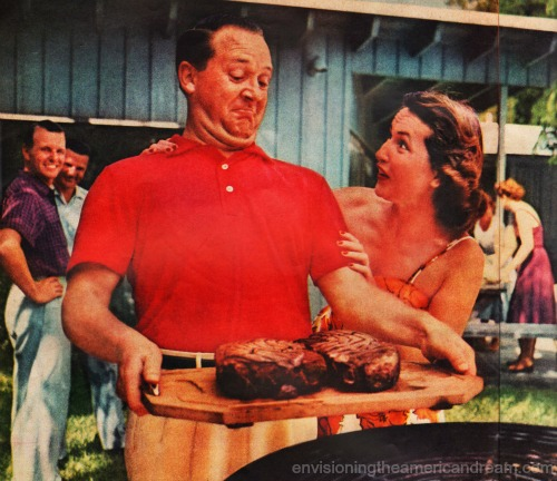 vintage suburban man at barbecue steaks