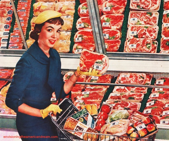Vintage photo housewife shopping for meat
