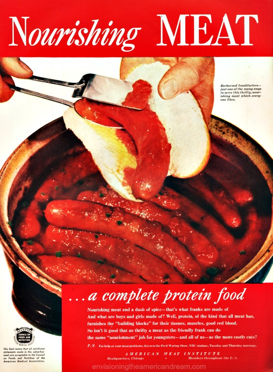 Vintage ad hot dogs on the grill