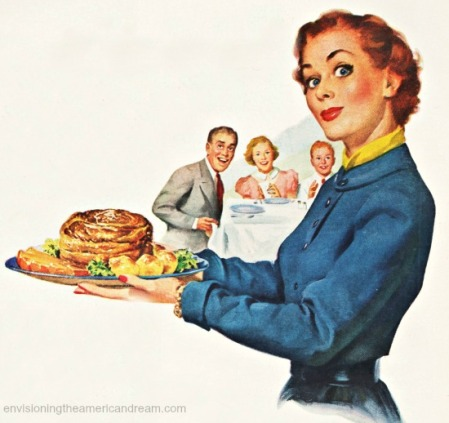 Vintage illustration 1950s Housewife holding a roast