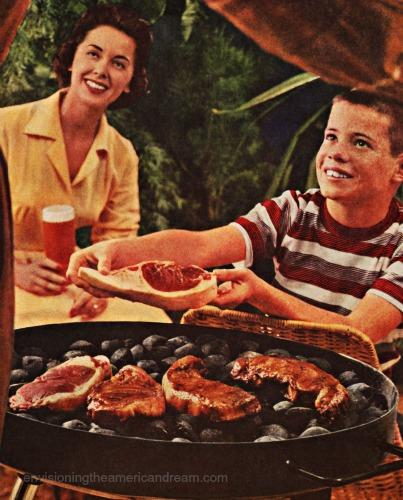 vintage photo boy and family backyard barcecue 1950s steak