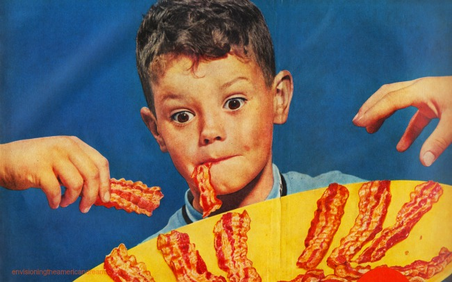 Vintage ad bacon boy eating bacon