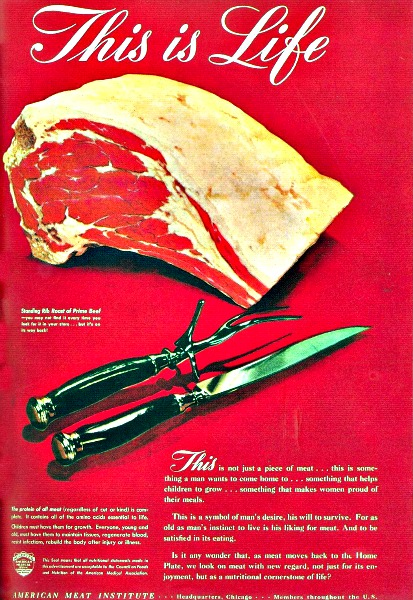 Vintage ad American Meat Institute picture of meat and knife