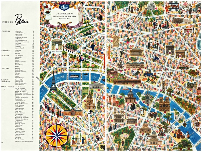 Vintage illustrated map of Paris 1953