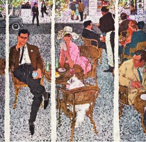 Vintage Illustration Sitting at Paris Cafes