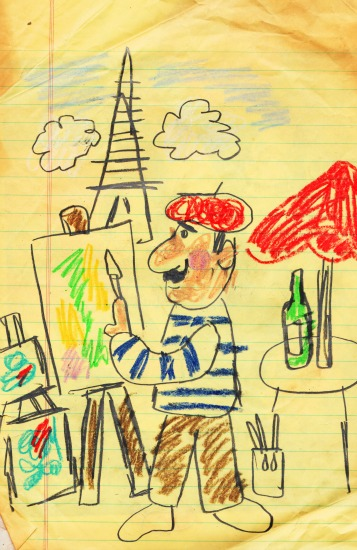childhood drawing of French artist