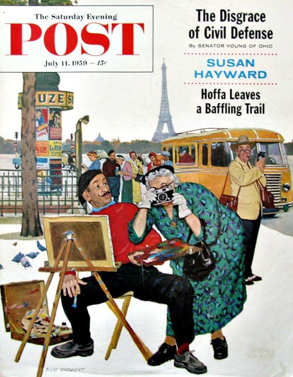 vintage Saturday Evening Post illustration Dick Sargent Parisien Artist