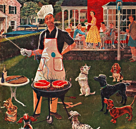 Vintage illustration suburban man at barbecue surrounded by dogs