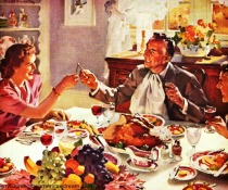 Vintage illustration family at Thanksgiving