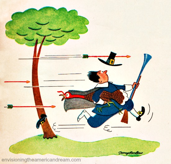 Vintage Illustration Pilgrim being chased by arrows