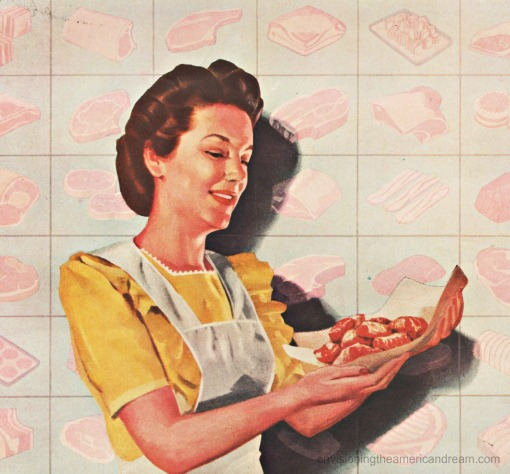 WWII Vintage Illustration housewife holding meat