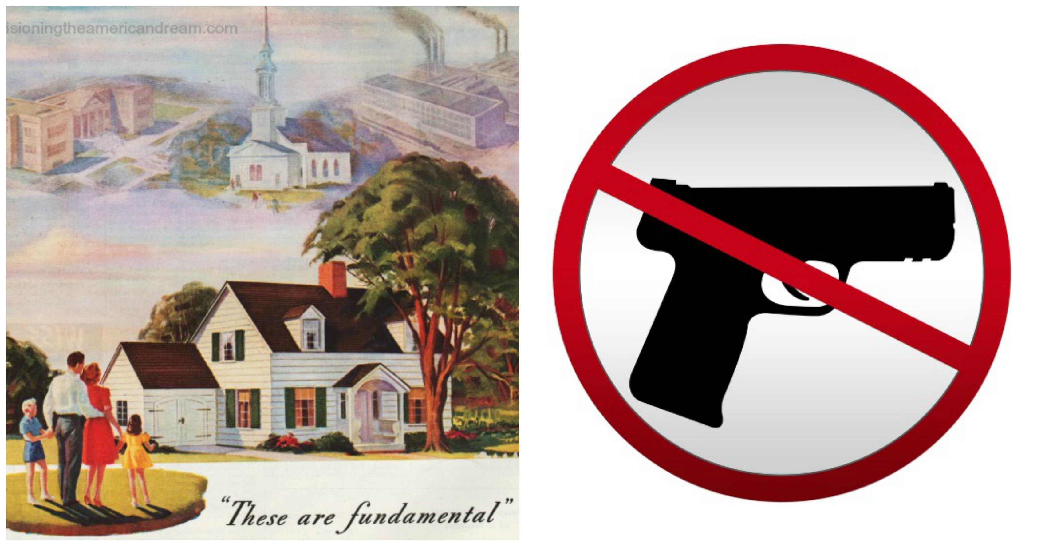 vintage ad and gun control symbol
