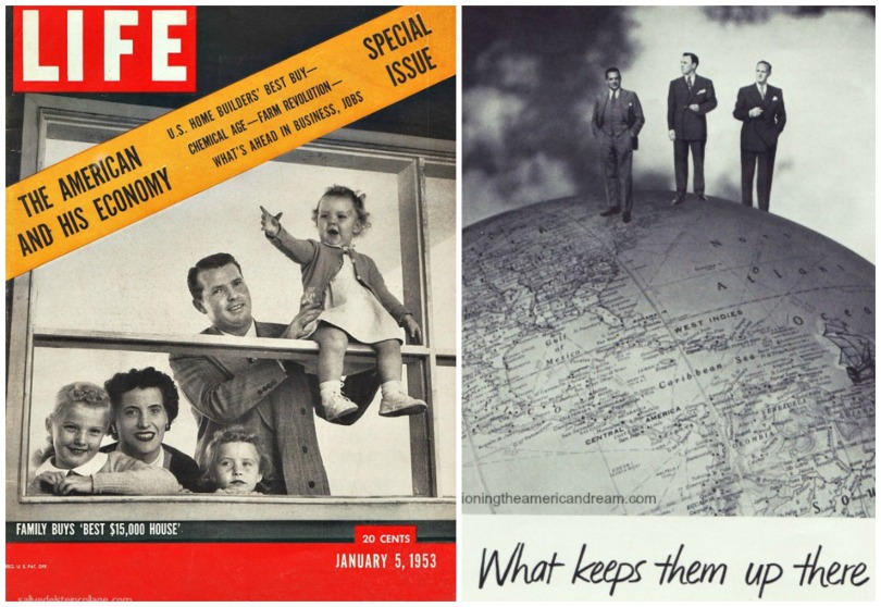 collage- Vintage cover Life Magazine The American and His Economy and businessmen standing on top of the world