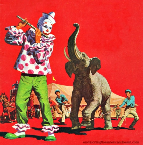 vintage illustration clown and elephant