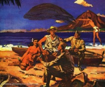 vintage illustration Coke ad Hawaii soldiers and natives