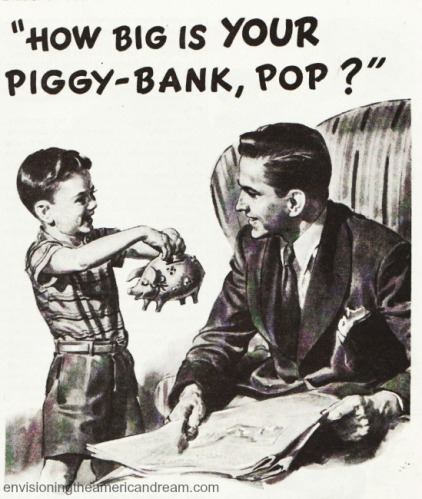 vintage illustration little boy holding piggy bank to father How big is Your Piggy Bank Dad?