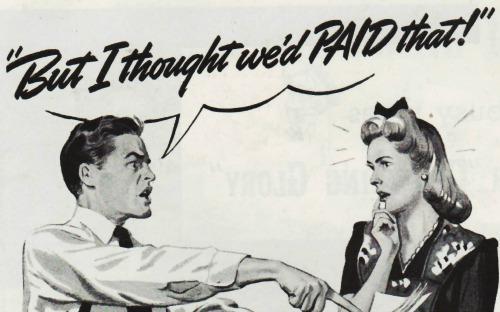 vintage illustration couple fighting over bills