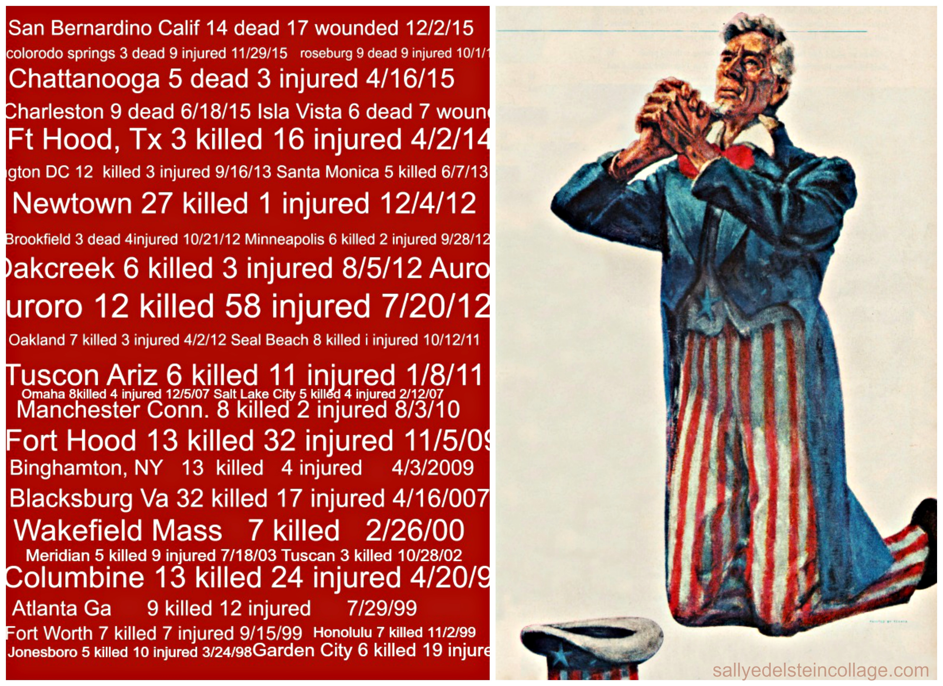 collage Gun Violence mass shooting in America list and Uncle Sam praying
