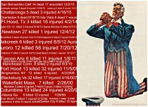 collage list of mass shtings in America and Uncle Sam praying