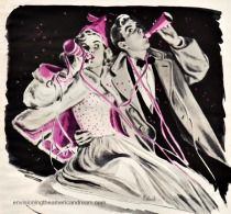 New years Eve 1949 Vintage Illustration
