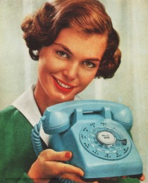 Vintage Housewife holding telephone