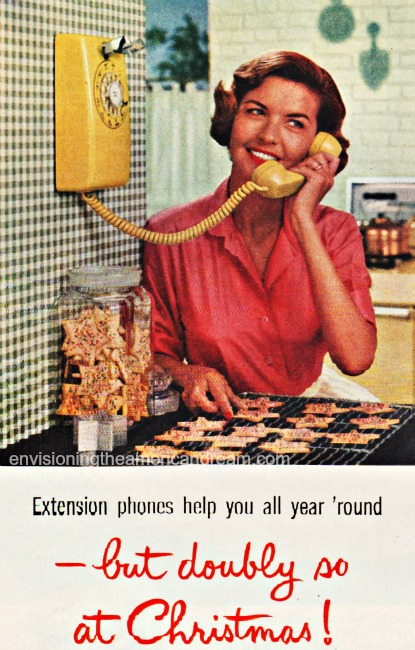 vintage ad 1950s housewife and telephone