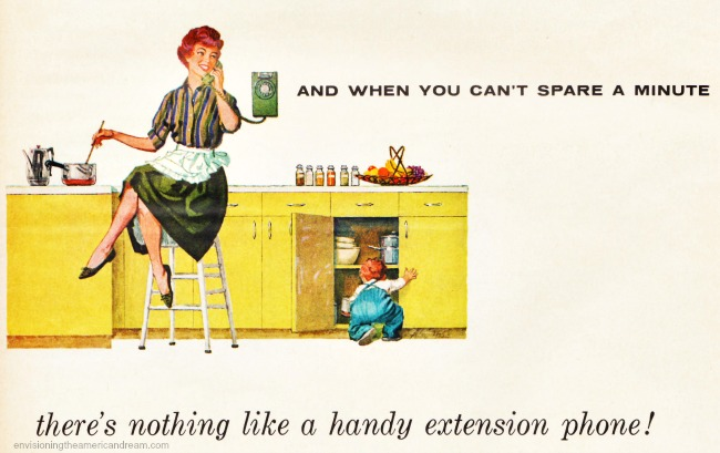vintage illustration 1950s housewife in the kitchen on the phone