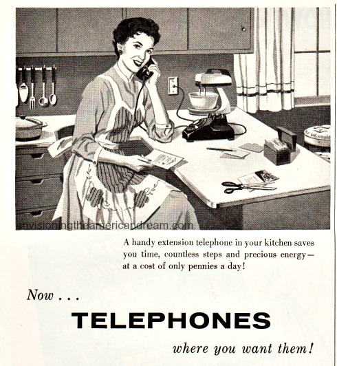 vintage illustration 1950s housewife talking on the phone in the kitchen