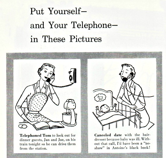 vintage illustration 1950s Housewife and the telephone.