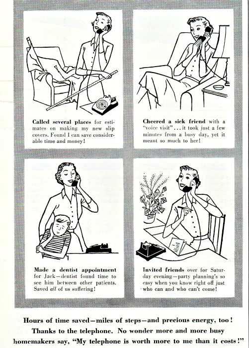 vintage illustration 1950s housewife and the telephone
