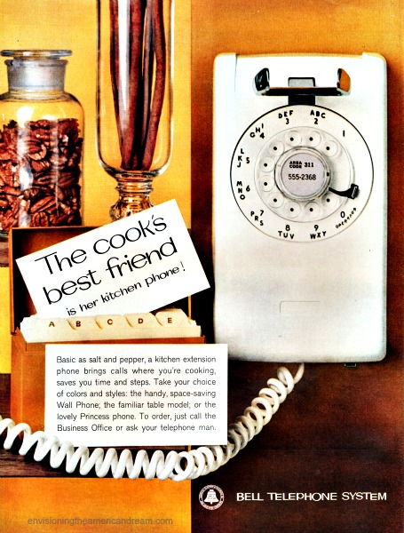 vintage ad kitchen wall telephone